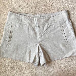 Anthropologie Tan Linen Shorts with Subtle Shimmer